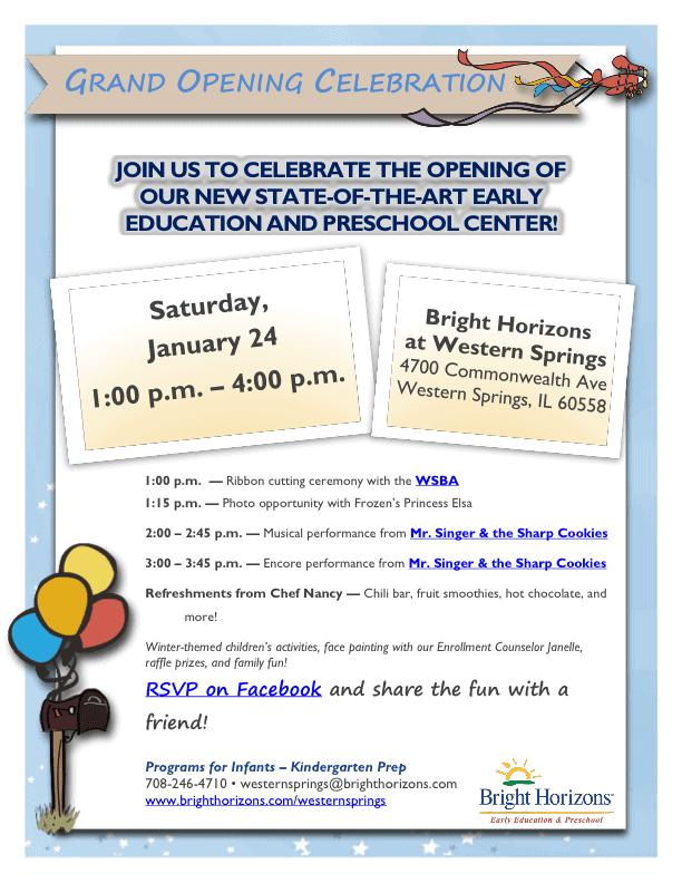 Western Springs Grand Opening Celebration Flyer