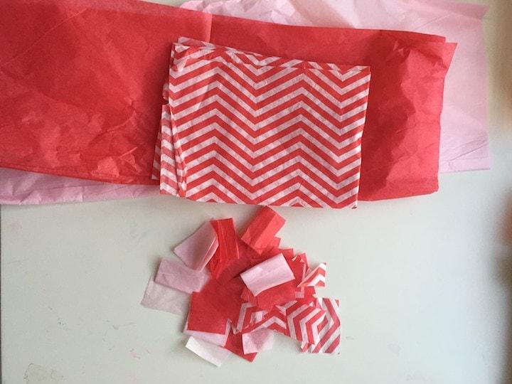 rainbow heart sun catcher tissue paper