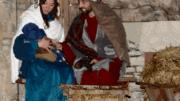 Live nativity scene featuring Mary, Joseph, and Jesus